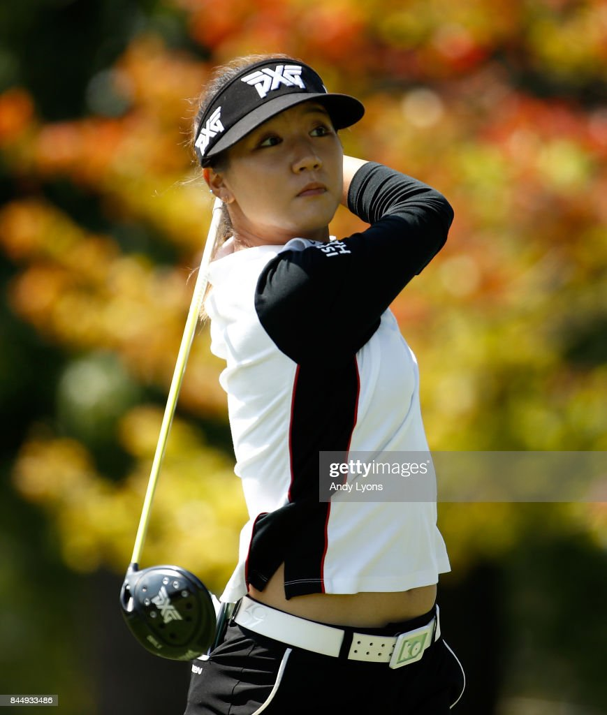 Lydia Ko of New Zealand hits her tee shot ont he 9th hole during the final round of the Indy Women In Tech Championship-Presented By Guggenheim at the Brickyard Crossing Golf Course on September 9, 2017 in Indianapolis, Indiana.