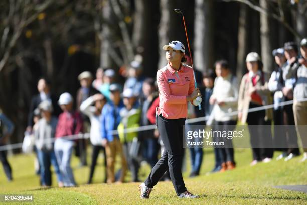 Lydia Ko of New Zealand hits her third shot on the 9th hole during the final round of the TOTO Japan Classics 2017 at the Taiheiyo Club Minori Course...