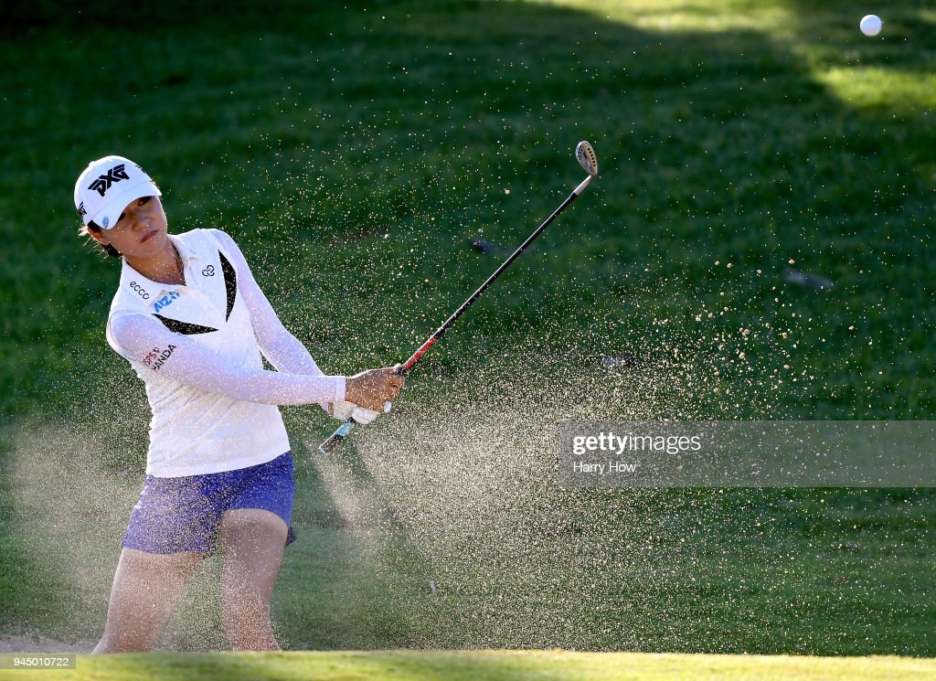 Lydia Ko of New Zealand hits out of a bunker on the 17th green during the first round of the LPGA LOTTE Championship at the Ko Olina Golf Club on April 11, 2018 in Kapolei, Hawaii.