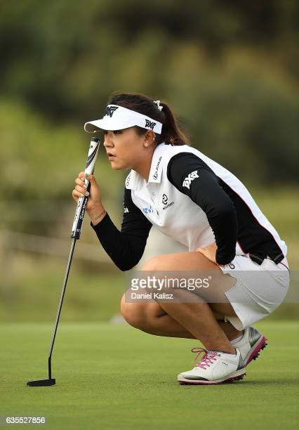 Lydia Ko of New Zealand lines up a putt during round one of the ISPS Handa Women's Australian Open at Royal Adelaide Golf Club on February 16 2017 in...