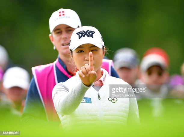 Lydia Ko of New Zealand lines up a putt during the final round of The Evian Championship at Evian Resort Golf Club on September 17 2017 in...