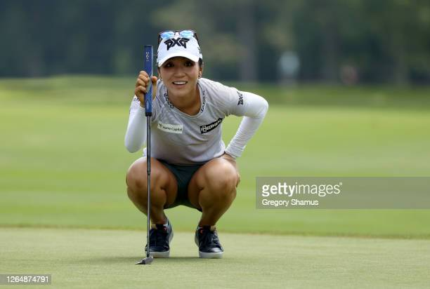 Lydia Ko of New Zealand lines up a putt on the seventh hole during the final round of the Marathon LPGA Classic at Highland Meadows Golf Club on...