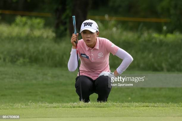 Lydia Ko of New Zealand lines up her chip on the green during the First Round of the Volunteers of America Texas Classic on May 4 2018 at the Old...