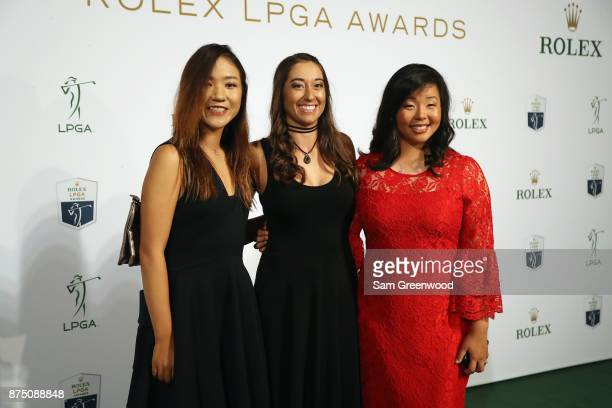 Lydia Ko of New Zealand Marina Alex of the United States and Jane Park of the United States pose as they arrive at the LPGA Rolex Players Awards at...