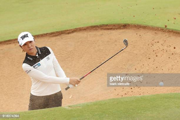 Lydia Ko of New Zealand plays a bunker shot during day one of the ISPS Handa Australian Women's Open at Kooyonga Golf Club on February 15 2018 in...