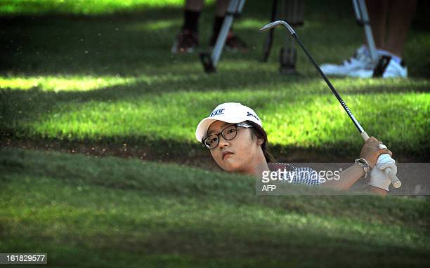 Lydia Ko of New Zealand plays a shot during the final round of the Women's Australian Open golf tournament in Canberra on February 17 2013 AFP PHOTO...