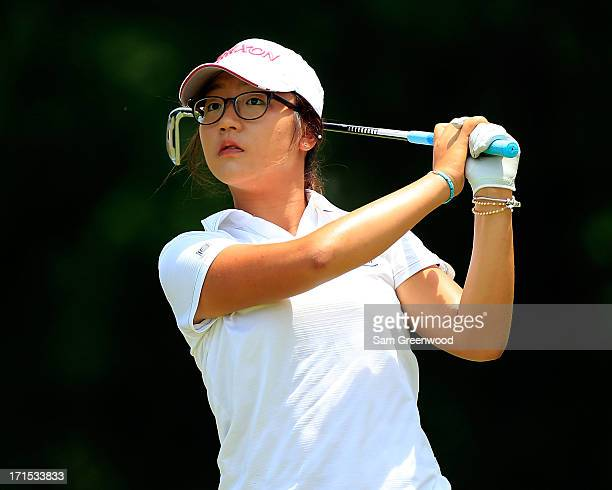 Lydia Ko of New Zealand plays a shot during the final round of the Walmart NW Arkansas Championship Presented by PG at the Pinnacle Country Club on...