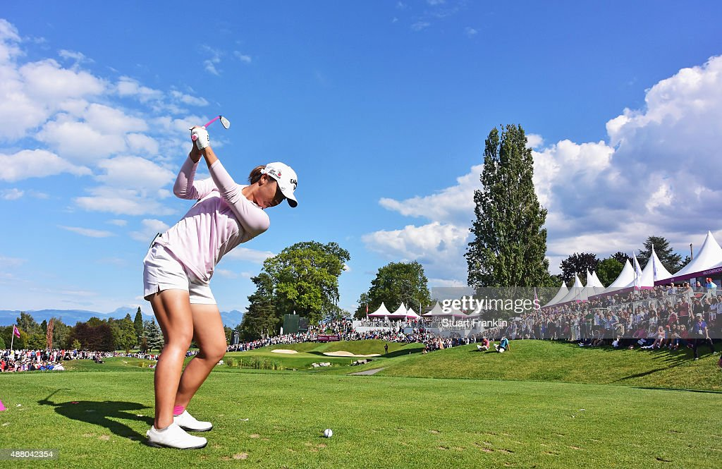 Lydia Ko of New Zealand plays a shot on the 16th hole during the final round of the Evian Championship Golf on September 13, 2015 in Evian-les-Bains, France.
