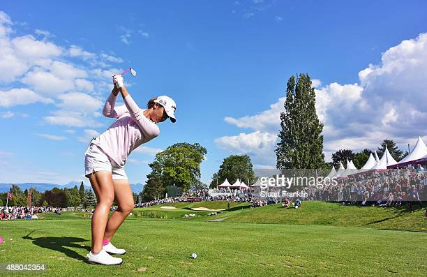 Lydia Ko of New Zealand plays a shot on the 16th hole during the final round of the Evian Championship Golf on September 13 2015 in EvianlesBains...