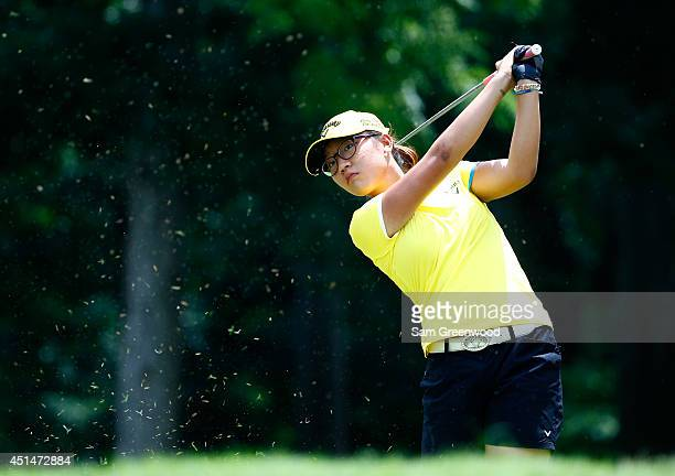 Lydia Ko of New Zealand plays a shot on the third hole during the final round of the Walmart NW Arkansas Championship Presented by PG at Pinnacle...
