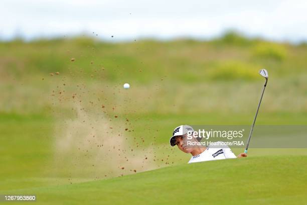 Lydia Ko of New Zealand plays a shot out of the bunker on the 2nd hole during Day Four of the 2020 AIG Women's Open at Royal Troon on August 23, 2020...