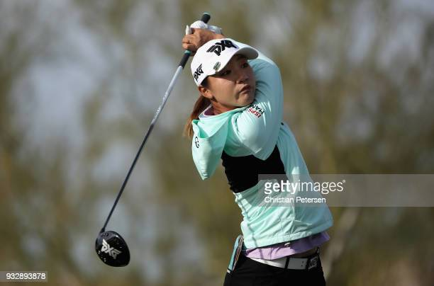 Lydia Ko of New Zealand plays a tee shot on the 12th hole during the second round of the Bank Of Hope Founders Cup at Wildfire Golf Club on March 16...