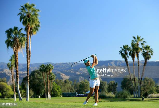 Lydia Ko of New Zealand plays her second shot at the par 5, 18th hole during the third round of the 2016 ANA Inspiration at the Mission Hills Country...