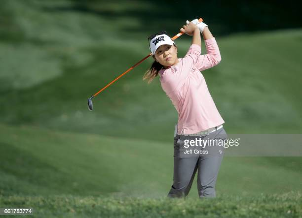 Lydia Ko of New Zealand plays her second shot from a fairway bunker on the second hole during the completion of the first round of the ANA...