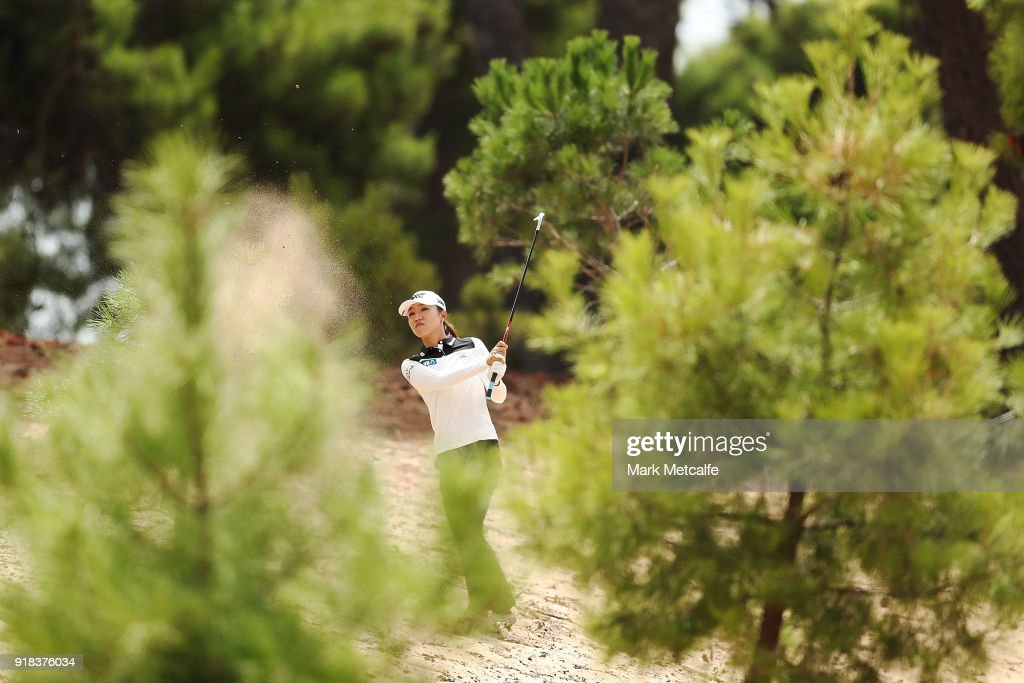 Lydia Ko of New Zealand plays her second shot from the rough on the 8th hole during day one of the ISPS Handa Australian Women's Open at Kooyonga Golf Club on February 15, 2018 in Adelaide, Australia.