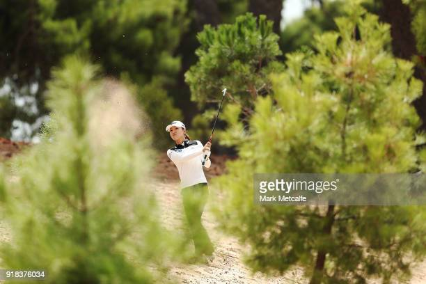 Lydia Ko of New Zealand plays her second shot from the rough on the 8th hole during day one of the ISPS Handa Australian Women's Open at Kooyonga...