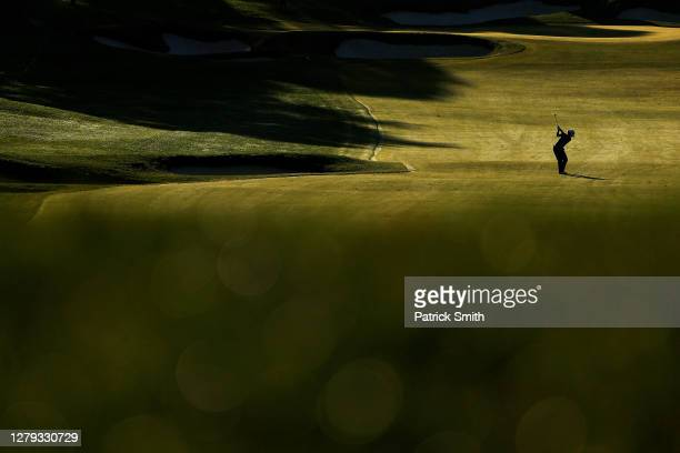Lydia Ko of New Zealand plays her second shot on the 11th hole during the second round of the 2020 KPMG Women's PGA Championship at Aronimink Golf...