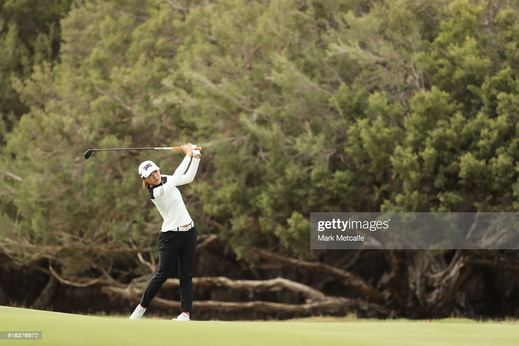 Lydia Ko of New Zealand plays her second shot on the 2nd hole during day one of the ISPS Handa Australian Women's Open at Kooyonga Golf Club on February 15, 2018 in Adelaide, Australia.