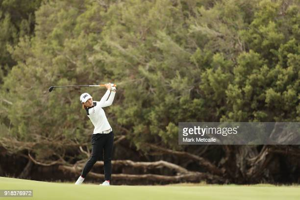 Lydia Ko of New Zealand plays her second shot on the 2nd hole during day one of the ISPS Handa Australian Women's Open at Kooyonga Golf Club on...