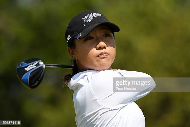Lydia Ko of New Zealand plays her shot from the fifth tee during the First Round of Women's Golf at Olympic Golf Course on Day 12 of the Rio 2016...