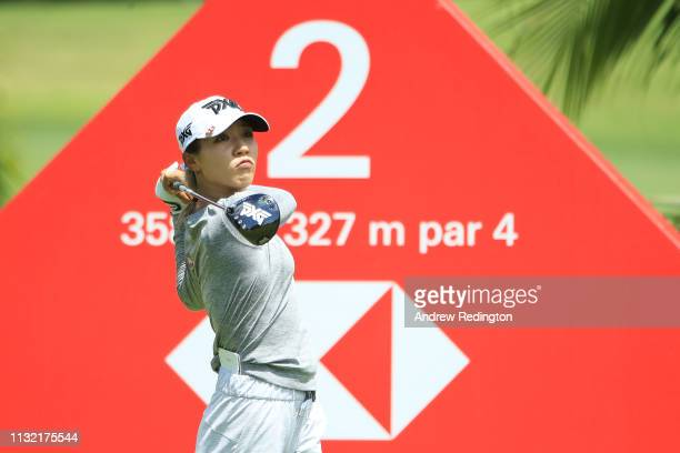 Lydia Ko of New Zealand plays her shot from the second tee during a practice round prior to the HSBC Women's World Championship at Sentosa Golf Club...