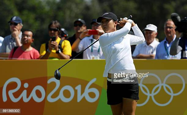 Lydia Ko of New Zealand plays her shot from the third tee during the First Round of Women's Golf on Day 12 of the Rio 2016 Olympic Games at Olympic...