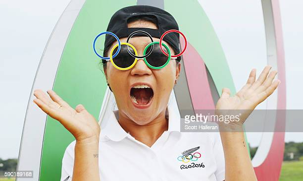Lydia Ko of New Zealand poses after a practice round prior to the start of the women's golf during Day 11 of the Rio 2016 Olympic Games at Olympic...