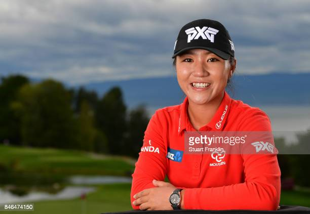 Lydia Ko of New Zealand poses for a picture after the pro - am prior to the start of The Evian Championship at Evian Resort Golf Club on September...
