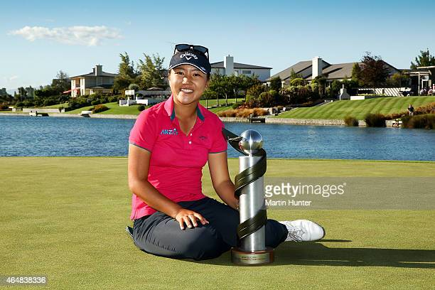 Lydia Ko of New Zealand poses with the NZ Golf Open trophy afte day three of the ISPS Handa New Zealand Women's Open at Clearwater Golf Course on...