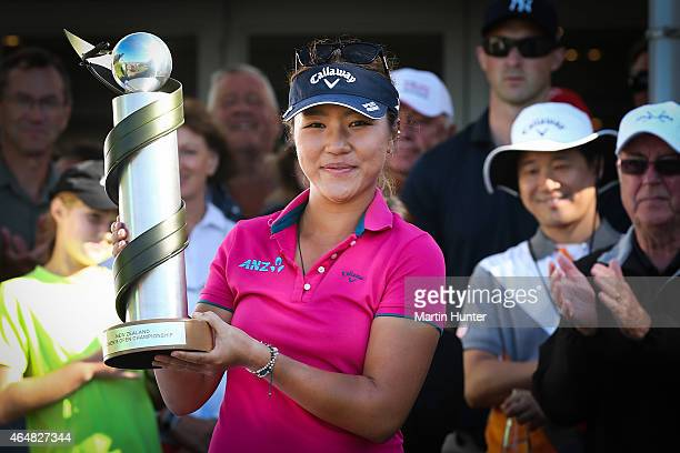 Lydia Ko of New Zealand poses with the NZ Golf Open trophy after day three of the ISPS Handa New Zealand Women's Open at Clearwater Golf Course on...