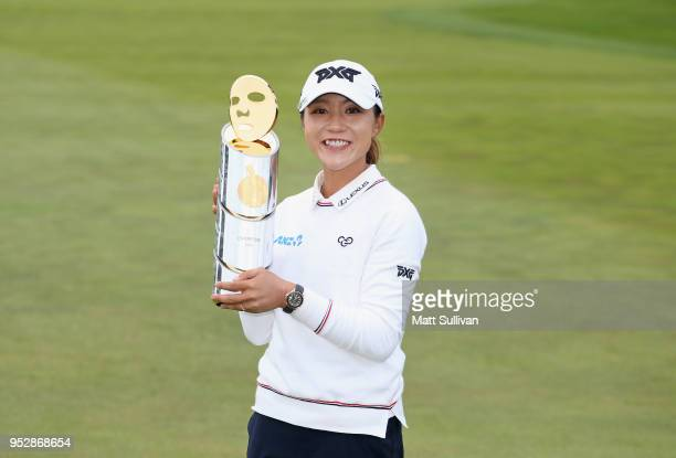Lydia Ko of New Zealand poses with the trophy after winning the Mediheal Championship at Lake Merced Golf Club on April 29, 2018 in Daly City,...