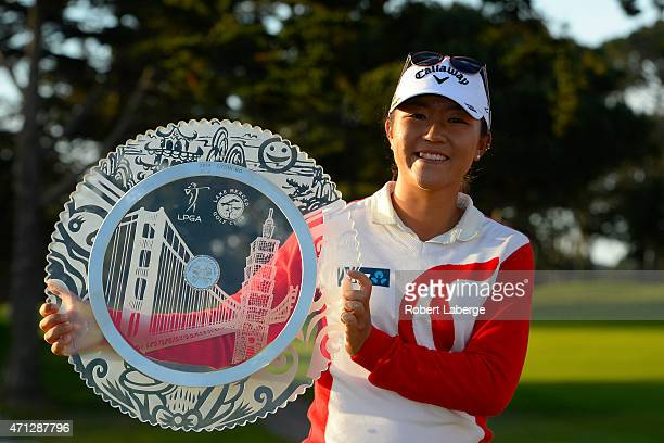 Lydia Ko of New Zealand poses with the winner's trophy after winning the Swinging Skirts LPGA Classic presented by CTBC at the Lake Merced Golf Club...