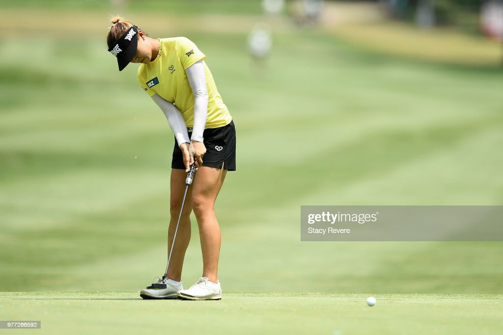 Lydia Ko of New Zealand putts on the 11th green during the final round of the Meijer LPGA Classic for Simply Give at Blythefield Country Club on June 17, 2018 in Grand Rapids, Michigan.