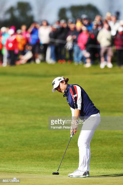 Lydia Ko of New Zealand putts on the 18th green during day three of the New Zealand Women's Open at Windross Farm on September 30 2017 in Auckland...