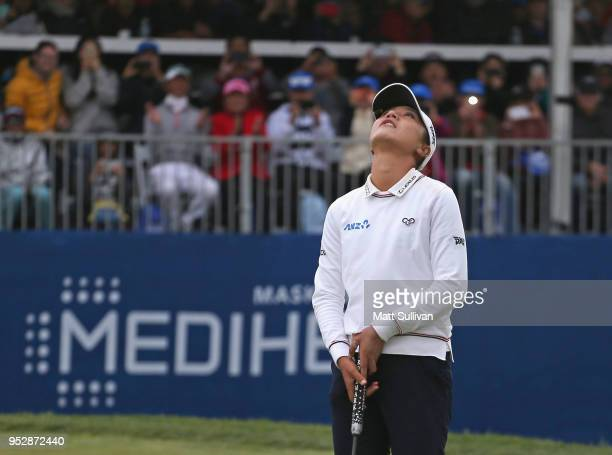 Lydia Ko of New Zealand reacts after making an eagle to win the Mediheal Championship at Lake Merced Golf Club on April 29 2018 in Daly City...