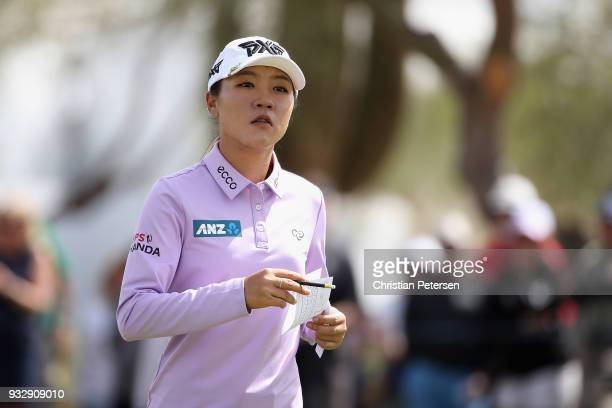 Lydia Ko of New Zealand reacts following the second round of the Bank Of Hope Founders Cup at Wildfire Golf Club on March 16 2018 in Phoenix Arizona