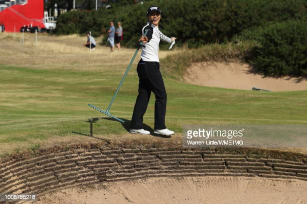 Lydia Ko of New Zealand reacts to a bunker on the 18th hole during a practice round ahead of the Ricoh Women's British Open at Royal Lytham & St....