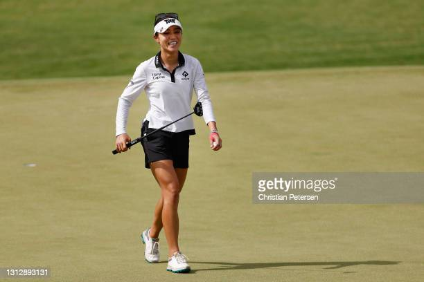 Lydia Ko of New Zealand reacts to her putt on the 12th green during the third round of the LPGA LOTTE Championship at Kapolei Golf Club on April 16,...