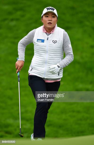 Lydia Ko of New Zealand runs after a shot during the final round of The Evian Championship at Evian Resort Golf Club on September 17 2017 in...