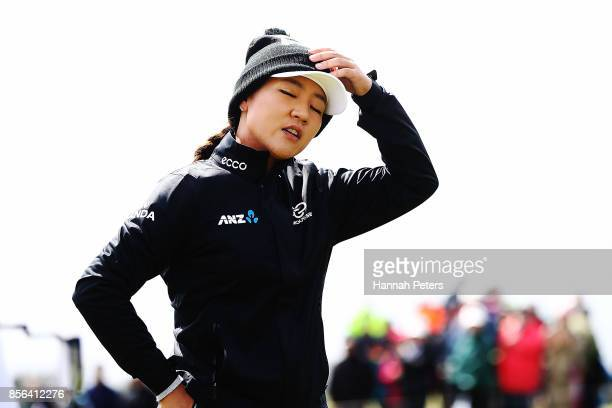 Lydia Ko of New Zealand shows her frustration on the 18th green during day five of the New Zealand Women's Open at Windross Farm on October 2 2017 in...
