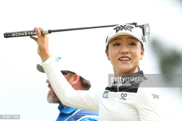 Lydia Ko of New Zealand smiles after playing her approach shot on the 8th hole during day one of the ISPS Handa Australian Women's Open at Kooyonga...