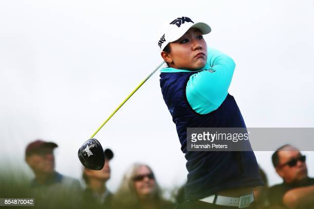 Lydia Ko of New Zealand tees off during day one of the McKayson New Zealand Women's Open at Windross Farm on September 28 2017 in Auckland New Zealand