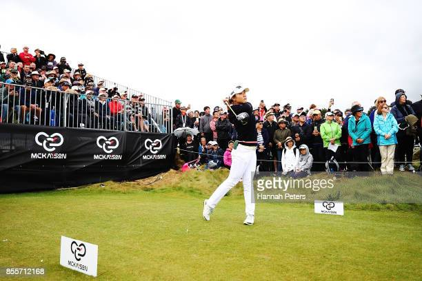 Lydia Ko of New Zealand tees off during day three of the New Zealand Women's Open at Windross Farm on September 30 2017 in Auckland New Zealand