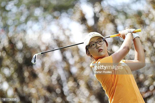 Lydia Ko of New Zealand tee's off during day two of the ISPS Handa Australian Open at Royal Canberra Golf Club on February 15 2013 in Canberra...