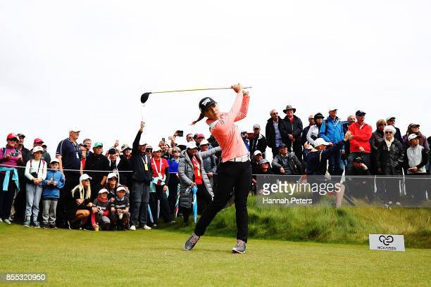 Lydia Ko of New Zealand tees off during day two of the New Zealand Women's Open at Windross Farm on September 29 2017 in Auckland New Zealand
