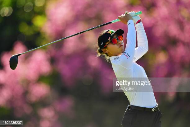 Lydia Ko of New Zealand tees off on the 16th hole during round two of the Gainbridge LPGA at Lake Nona Golf and Country Club on February 26, 2021 in...