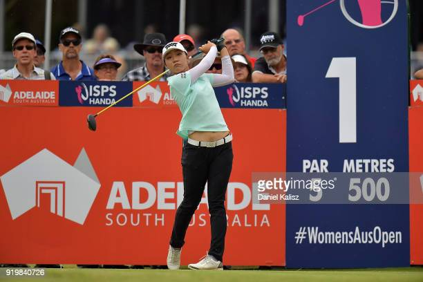 Lydia Ko of New Zealand tees off on the first hole during day four of the ISPS Handa Australian Women's Open at Kooyonga Golf Club on February 18...