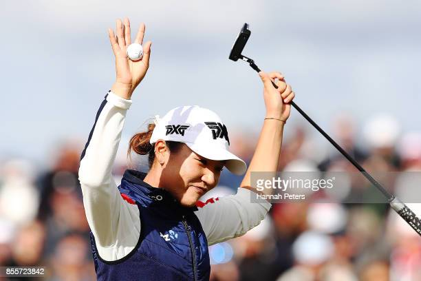 Lydia Ko of New Zealand thanks the crowd after finishing her round during day three of the New Zealand Women's Open at Windross Farm on September 30...