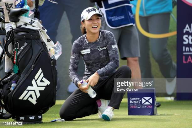 Lydia Ko of New Zealand waits to play her tee shot on the 12th hole during the second round of the Aberdeen Standard Investments Ladies Scottish Open...