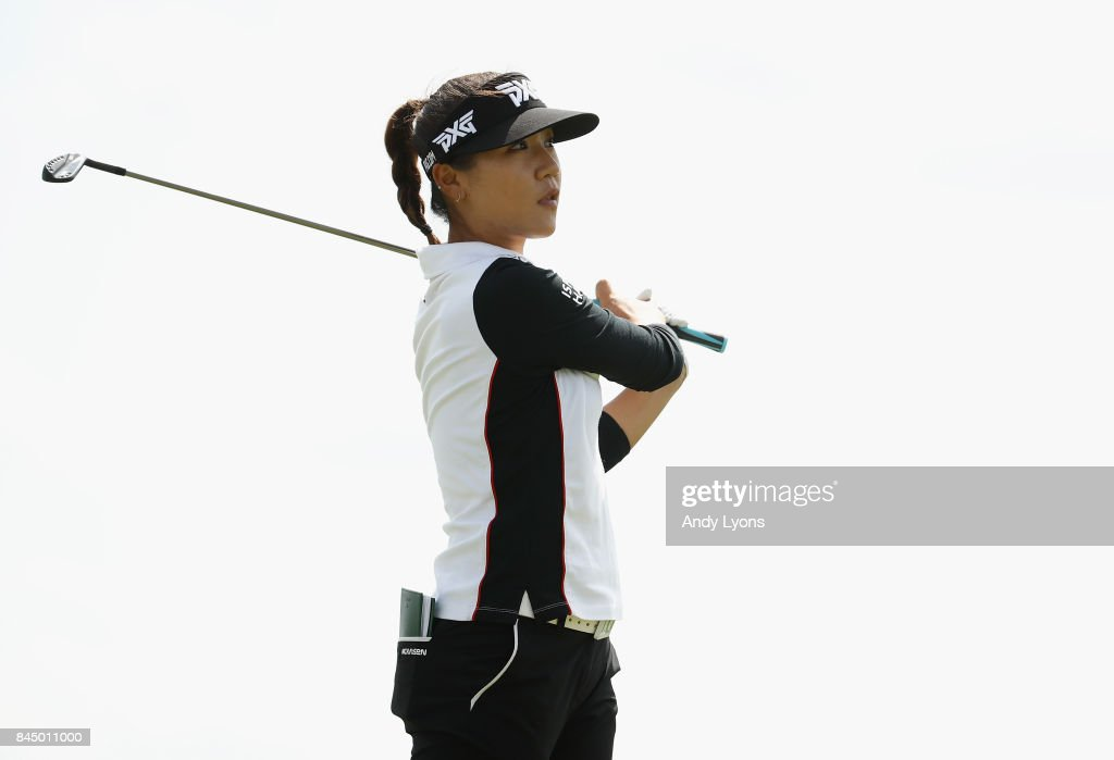 Lydia Ko of New Zealand watches her tee shot ont he 15th hole during the final round of the Indy Women In Tech Championship-Presented By Guggenheim at the Brickyard Crossing Golf Course on September 9, 2017 in Indianapolis, Indiana.